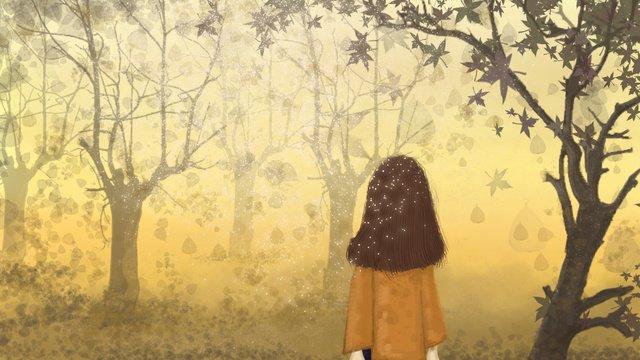 나무 아래가 hello 소녀 삽화 소재