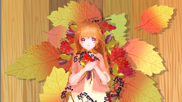 Autumn deciduous fruit japanese small fresh illustration, Fall, Fallen Leaves, Lovely illustration image