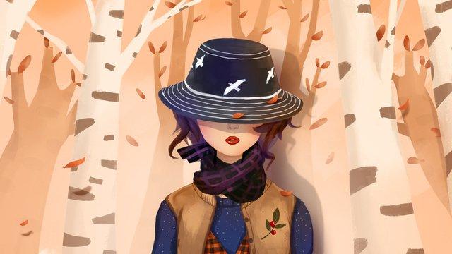 シンプル、新鮮な秋、こんにちは、憂鬱、帽子の少女を着て イラスト素材 イラスト画像