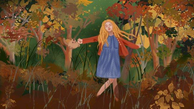 Девушка в осеннем лесу танцует с новичками счастливыми и оригинальными Ресурсы иллюстрации Иллюстрация изображения