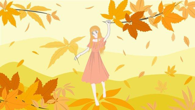 여자 그림 아래가 hello 나뭇잎 삽화 소재 삽화 이미지