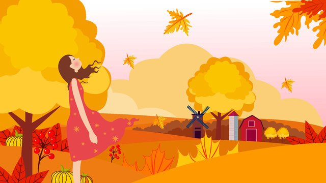 Hello autumn girl, Fall, Girl, Maple Leaf illustration image