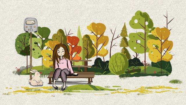 Autumn hello series tour, Fall, Girl, Maple Leaf illustration image