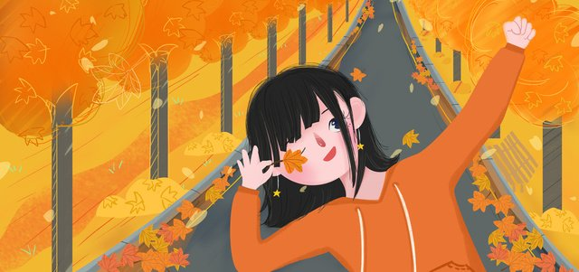 Autumn hello golden flat illustration cartoon cute leaves, Fall, Golden Autumn, Cartoon illustration image