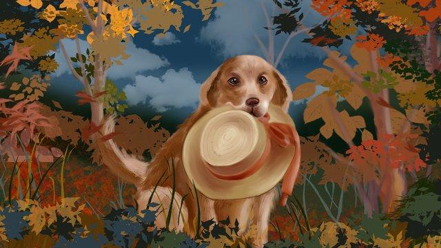 麦わら帽子と秋の黄金の草原でゴールデンゴールデン犬 イラストレーション画像
