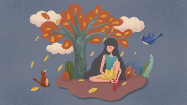 autumn fresh deciduous tree girl bird good morning hello illustration llustration image illustration image