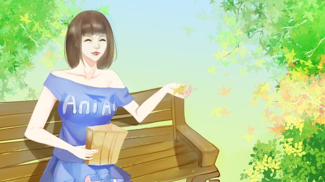 Autumn hello girl illustration, Fall, Hello Autumn, Girl illustration image