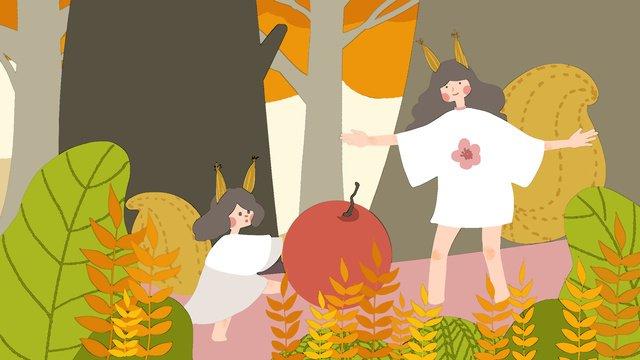 autumn hello 작은 신선한 귀여운 다람쥐 소녀 삽화 소재 삽화 이미지