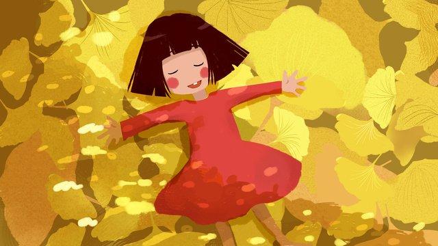 秋こんにちは秋の子供たちの治療法を持つ少女 イラスト素材