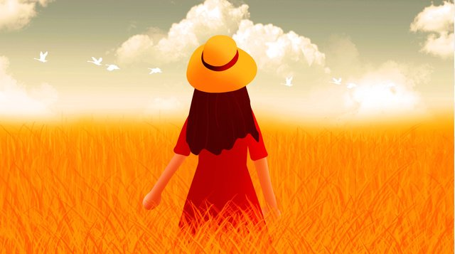 fall Hello there Back view Teenage girl, Straw, Sky, White Clouds illustration image