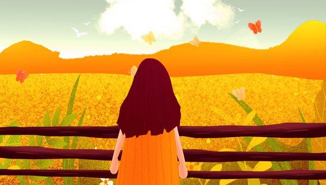 Autumn hello field girl, Fall, Hello There, Field illustration image