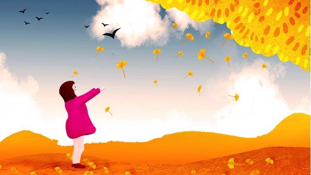 chào mùa xuân ginkgo dưới cô gái Hình minh họa Hình minh họa