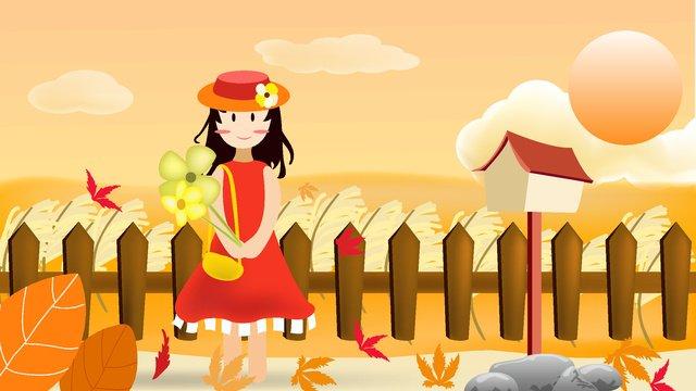 Hello autumn, Fall, Hello There, Girl illustration image