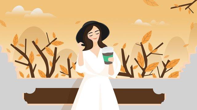 Original autumn hello girl, Fall, Hello There, Girl illustration image