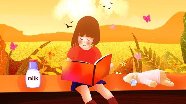 Autumn hello reading girl, Fall, Hello There, Reading illustration image