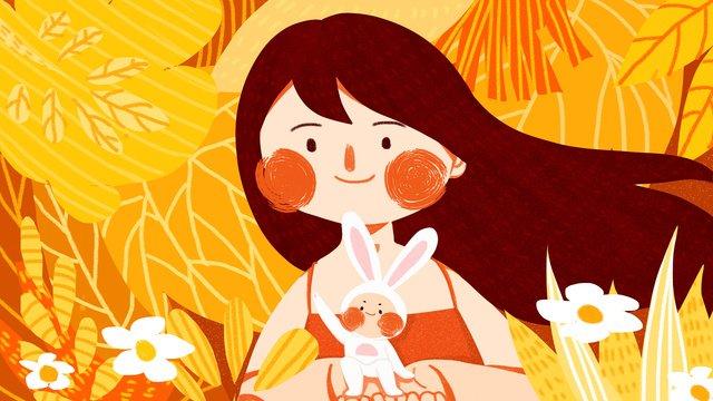 mùa thu hello girl rabbit adventure dễ thương minh họa gốc Hình minh họa