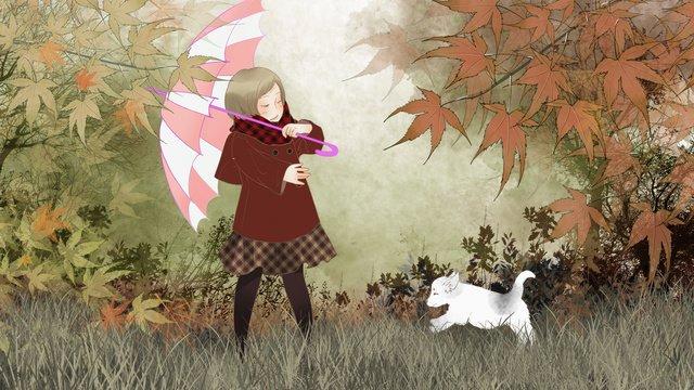 가 hello 소녀 잔디에 강아지와 함께 연주 삽화 소재 삽화 이미지