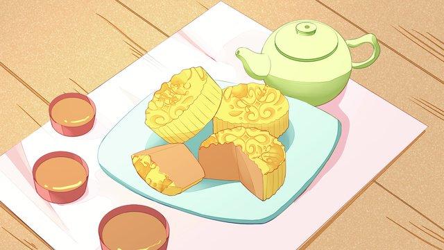Autumn hello mid-autumn festival, Fall, Mid Autumn, Food illustration image