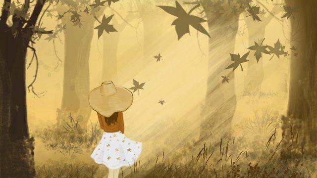 Autumn hello girl in the forest, Fall, Season, Autumn Wind illustration image