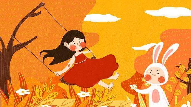 mùa thu hello girl bunny lắc lư chơi dễ thương minh họa gốc Hình minh họa