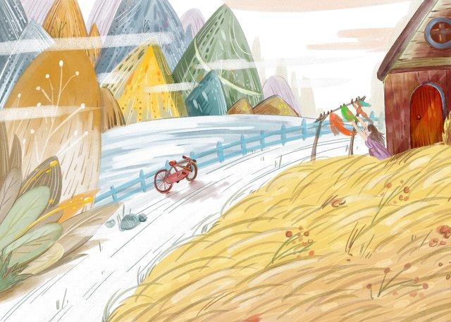 シンプルで新鮮な秋こんにちは山田の図 イラスト素材