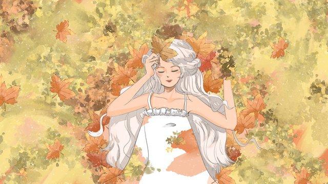 Watercolor illustration autumn hello girl on fallen leaves, Fall, Watercolor, Girl illustration image