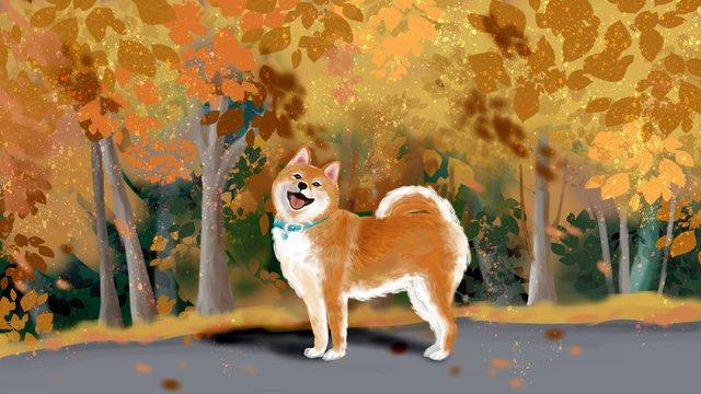 黄金色の紅葉かわいい柴犬犬の笑顔暖かい元 イラスト素材 イラスト画像