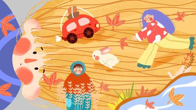 Autumn hello creative illustration, Fall, Yellow, Lovely illustration image