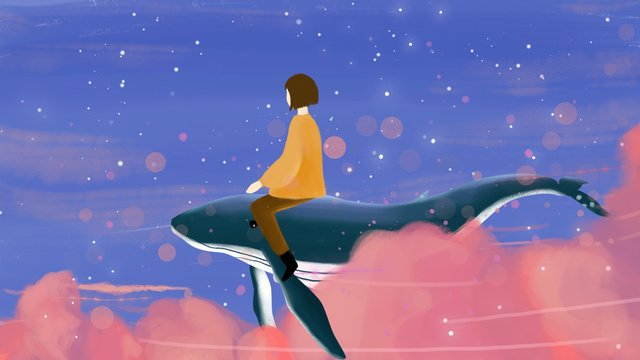 Healing warm color dreamy starry girl riding whale illustration, Fantasy Starry Sky, Small Fresh, Warm Color illustration image
