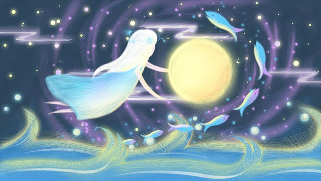 Coil impression illustration dream starry girl embracing moon, Fantasy Starry Sky, Starry Sky, Moon illustration image