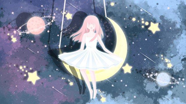 Hình minh họa bầu trời đầy sao của cô gái trên mặt trăngBầu  Trời  đầy PNG Và PSD illustration image