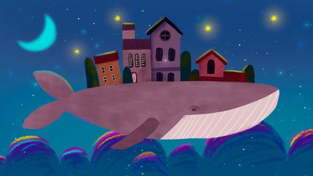 Cá voi vẽ tay minh họa trên bầu trời đầy sao tưởng tượngBầu  Trời  đầy PNG Và PSD illustration image