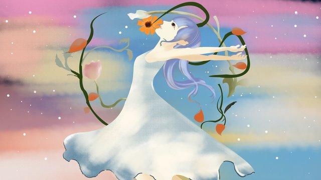 Simple and beautiful cure dreams wonderland dream trip girl dance illustration, Fantasy Wonderland, Dream Girl, Pure illustration image