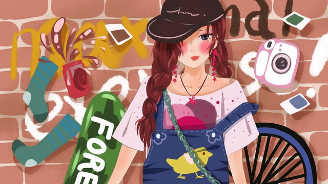 Fashion girl graffiti wall in front of street wind illustration, Fashion, Girl, Graffiti illustration image