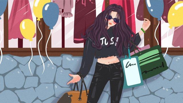 fashion girl standing in front of shop window edgy original illustration llustration image illustration image