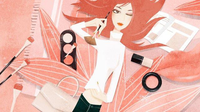 Fashion girl learns makeup beautiful illustration, Fashion, Girl, Make Up illustration image