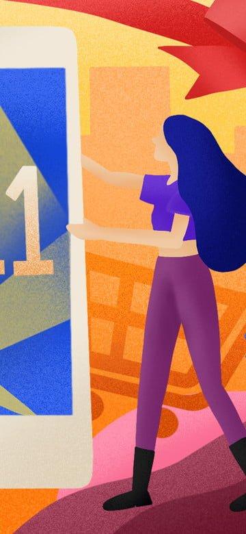 Мода градиент текстуры девушка мобильный телефон покупки двойной одиннадцать иллюстрации изображение llustration