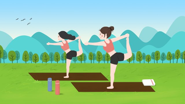 minh họa yoga ngoài trời của hai cô gái Hình minh họa