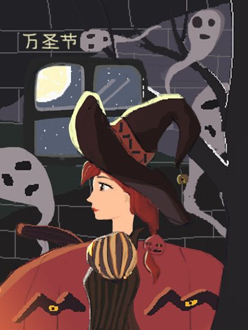 할로윈 마녀 밤 아름다운 삽화 이미지