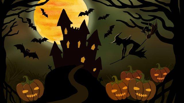 Halloween horror castle witch pumpkin lamp illustration, Festival, Pumpkin Lantern, Castle illustration image