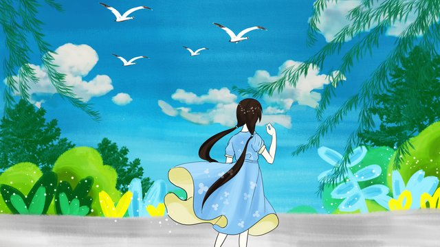 Simple and fresh summer girl illustration, Festival, Solar Terms, Summer illustration image