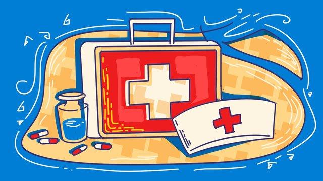 ngày sơ cứu thế giới mũ y tá chéo bộ dụng cụ Hình minh họa