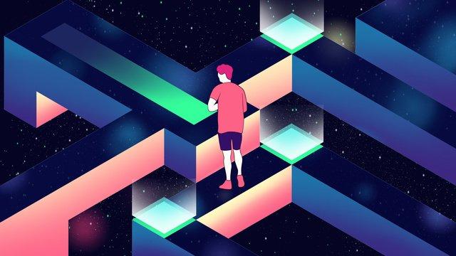 financial blockchain technology sense 2 5d gradient hand drawn poster illustration llustration image