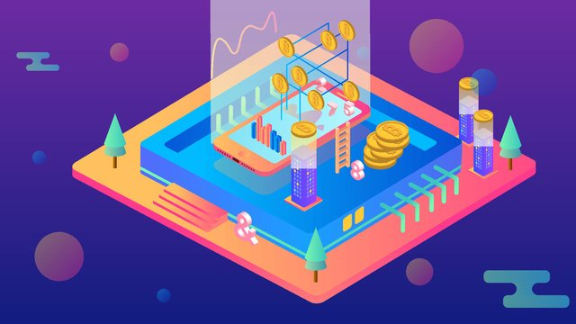 2 5d bitcoin financial scene illustrator イラスト素材 イラスト画像