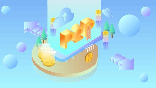 2 5d bitcoin financial scene illustration イラスト素材 イラスト画像