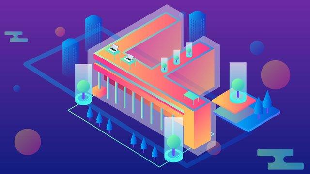 Breathable letter gradient scene illustration, Financial, Data, Technology illustration image