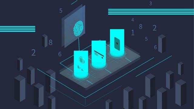 Small fresh finance 2.5d illustration, Financial, Fingerprint, Bitcoin illustration image