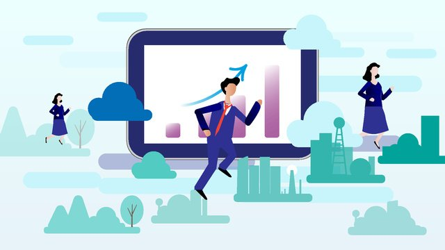 Financial illustration flat blockchain cloud life, Financial Illustration, Blockchain, Splash Screen illustration image