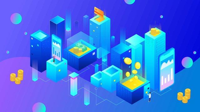 bitcoin 금융 기술 사무실 건물 삽화 소재 삽화 이미지