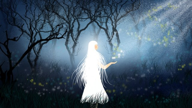 Forest elf goodnight dreams wonderland healing illustration, Firefly, Blue Light, Fairy illustration image